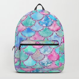 Colorful Pink and Blue Watercolor Trendy Glitter Mermaid Scales  Backpack