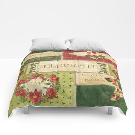 Celebrate Christmas Traditions Vintage Style Collage, Joy, love, family & friends Comforters