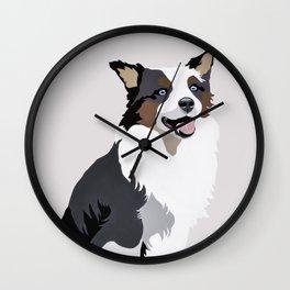 Woof on grey Wall Clock