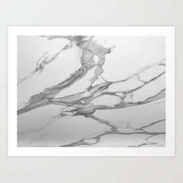 White Marble With Silver-Grey Veins Art Print