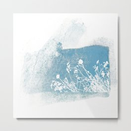 Shadow of wild flowers on a blue watercolor wall Metal Print