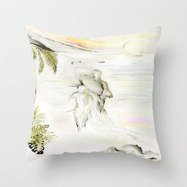 Misty Morning Surf Throw Pillow