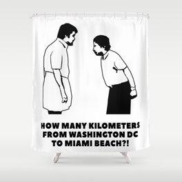 How many kilometers from Washington DC to Miami Beach Shower Curtain