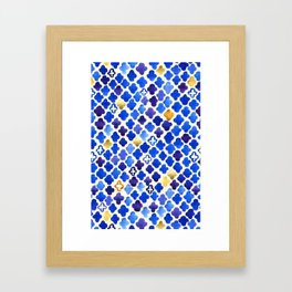 Rustic Watercolor Moroccan in Royal Blue & Gold Framed Art Print