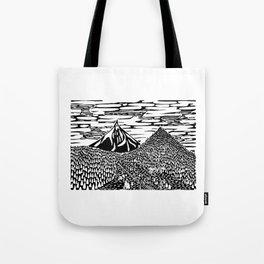 Mountain Block Print Tote Bag