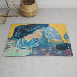 Harmonie en Bleu (Harmony in Blue) fans, china, flowers, shoes and shimmering clothes by James Ensor Rug