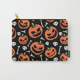 Happy halloween pumpkins, skulls and bones pattern Carry-All Pouch