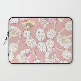 Modern white gold blush pink catus floral Laptop Sleeve