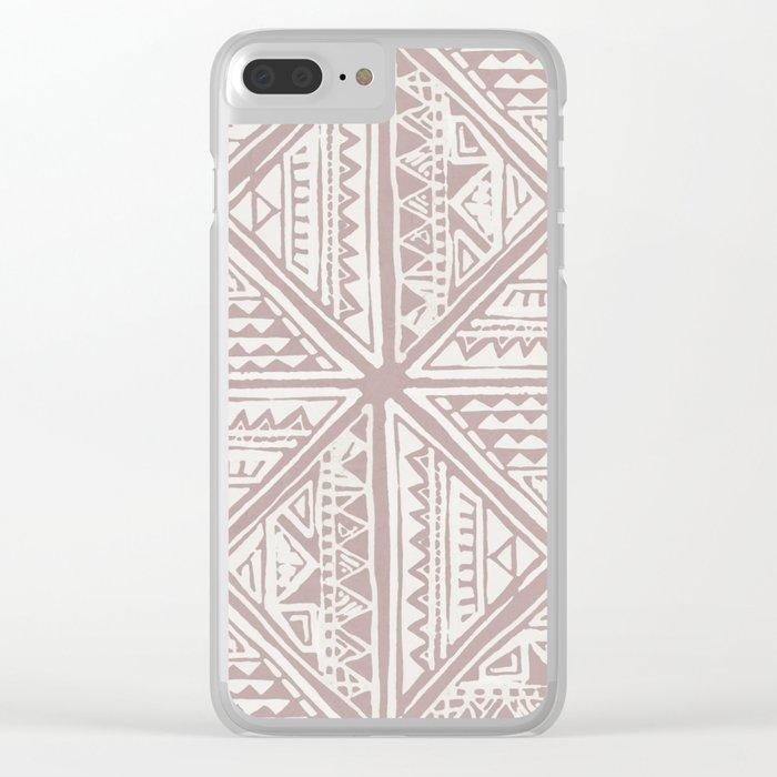 Simply Tribal Tile in Red Earth on Lunar Gray Clear iPhone Case