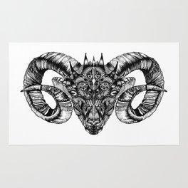 Zentangle Aries (Ram head) Rug