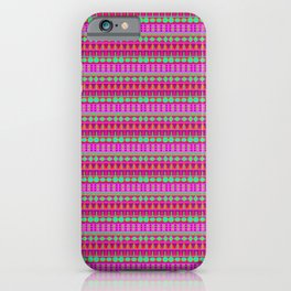 Aztec Tribal Motif Pattern in Pink, Lime and Fuchsia iPhone Case
