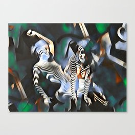 0169-PJ+NIS Sisters Abstracted Nude Zebra Girls in Green and Blue Canvas Print