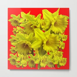 YELLOW SPRING DAFFODILS ON CHINESE RED ART Metal Print