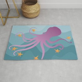 Octopus Juggling Starfish Rug