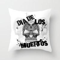 dia de los muertos Throw Pillows featuring Dia De Los Muertos by Digi Treats 2