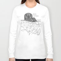 otters Long Sleeve T-shirts featuring Sea Otter Sketch by Hinterlund