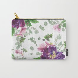 Purple tulips, anemones and eucalyptus Carry-All Pouch