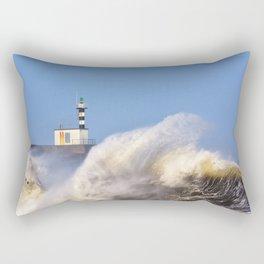 Stormy wave over lighthouse of San Esteban de Pravia. Rectangular Pillow