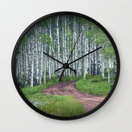 Roadway through a Birch Tree Grove Wall Clock