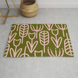 Cheerful Garden Minimalist Botanical Pattern in Pink and Olive Green Rug