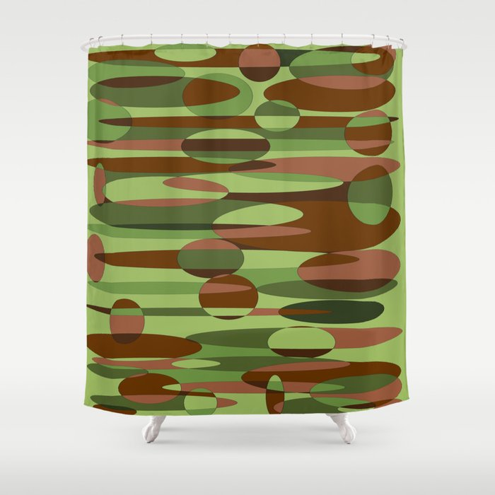 Trendy Green and Brown Camouflage Spheres Shower Curtain