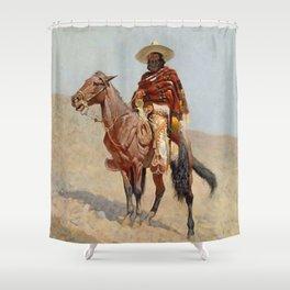 """Mexican Vaquero Horseman"" by Frederick Remington Shower Curtain"