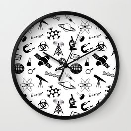 Science on White Wall Clock
