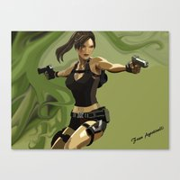 lara croft Canvas Prints featuring Lara Croft by Fran Agostinelli