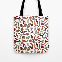 Squirrels in Fall Doodle Tote Bag