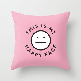 My Happy Face Throw Pillow