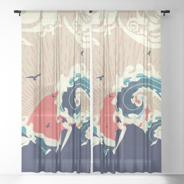 Stylized big waves of ocean and island at sunset landscape Sheer Curtain