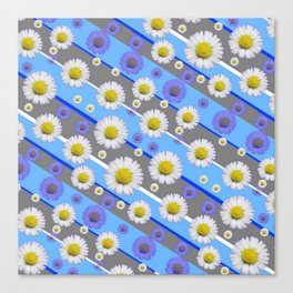 DECORATIVE DIAGONAL PATTERN BLUE MODERN ART WHITE SHASTA DAISIES Canvas Print
