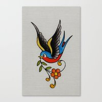 swallow Canvas Prints featuring swallow by Buffy Ino Kua