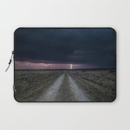 Darkness Falls - Lightning Strikes Down a Country Road at Night Laptop Sleeve