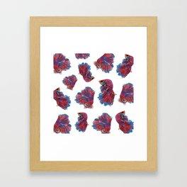 Ocean Theme- Red Blue Betta Fish Framed Art Print