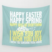 poem Wall Tapestries featuring Happy Easter, Happy Spring | Poem Artwork | Robin's Egg Blue by Jaydot Creative