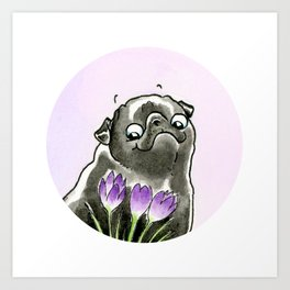 Flower Pugs: Crocus Art Print
