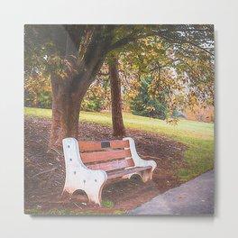 Trexler Memorial Park Bench Under a Tree Oil Style Metal Print