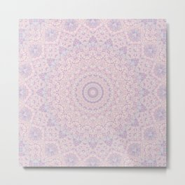 Pastel Lilac and Pink Mosaic Metal Print