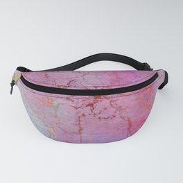 Modern abstract gold pink lilac watercolor marble Fanny Pack