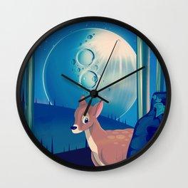 Deer in the Moonlight Wall Clock
