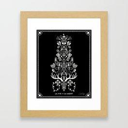 La Vie + La Mort: White Ink Framed Art Print