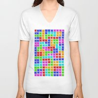 tetris V-neck T-shirts featuring Tetris by MarioGuti
