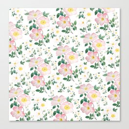 pink and white rose pattern Canvas Print