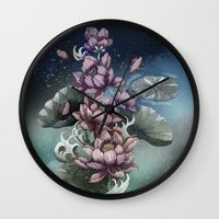 lotus flower Wall Clocks featuring Lotus by Marine Loup