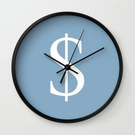 dollar sign on placid blue color background Wall Clock