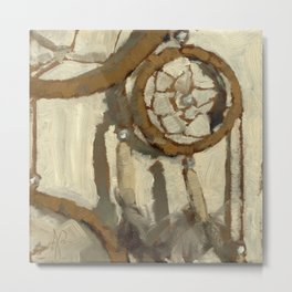 Still Life Impressionist Oil Painting of Native American Dreamcatcher in Brown, White and Grey Metal Print