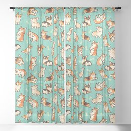 Jolly corgis in green Sheer Curtain