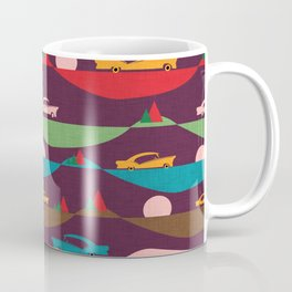50s Retro Road Trip Purple #midcenturymodern Coffee Mug
