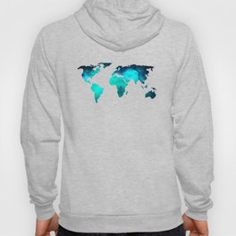 World Map Space Galaxy Stars in Turquoise Hoody